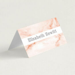 Blush Marble Folded Wedding Place Cards