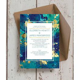 Teal & Gold Ink Wedding Invitation