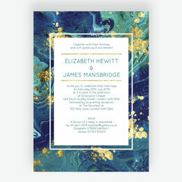 Teal & Gold Ink Wedding Invitation