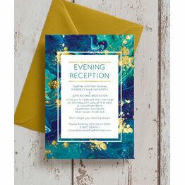 Teal & Gold Ink Evening Reception Invitation