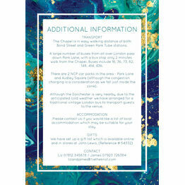 Teal & Gold Ink Guest Information Card