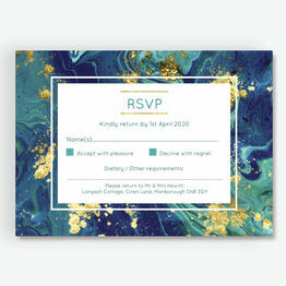 Teal & Gold Ink RSVP