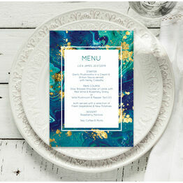 Teal & Gold Ink Menu