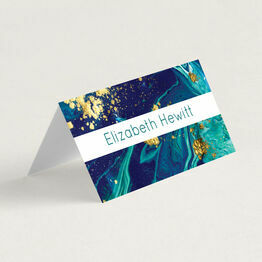 Teal & Gold Ink Folded Wedding Place Cards
