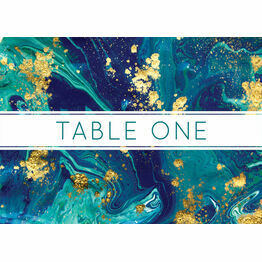 Teal & Gold Ink Table Name