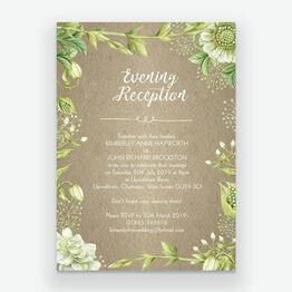 Rustic Greenery Evening Reception Invitation