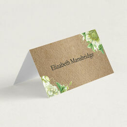 Rustic Greenery Folded Wedding Place Cards