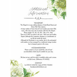 Greenery Guest Information Card