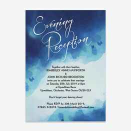 Blue Watercolour Evening Reception Invitation