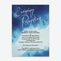 Blue Watercolour Evening Reception Invitation