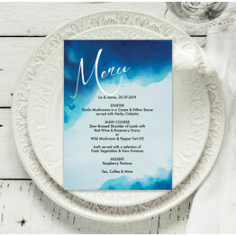 Blue Watercolour Menu