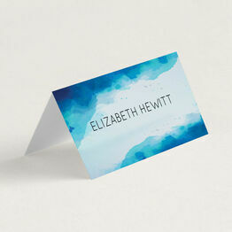 Blue Watercolour Folded Wedding Place Cards