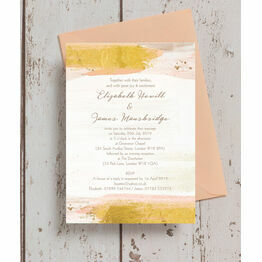 Blush & Gold Brush Strokes Wedding Invitation
