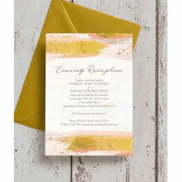 Blush & Gold Brush Strokes Evening Reception Invitation