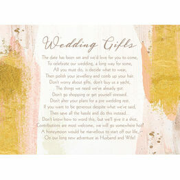 Blush & Gold Brush Strokes Gift Wish Card