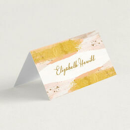 Blush & Gold Brush Strokes Folded Wedding Place Cards