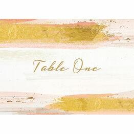 Blush & Gold Brush Strokes Table Name