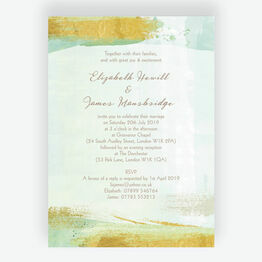 Mint Green & Gold Brush Strokes Wedding Invitation