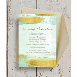 Mint Green & Gold Brush Strokes Evening Reception Invitation