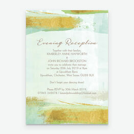 Mint Green & Gold Brush Strokes Evening Reception Invitation