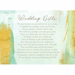 Mint Green & Gold Brush Strokes Gift Wish Card