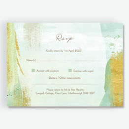 Mint Green & Gold Brush Strokes RSVP