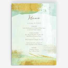 Mint Green & Gold Brush Strokes Menu