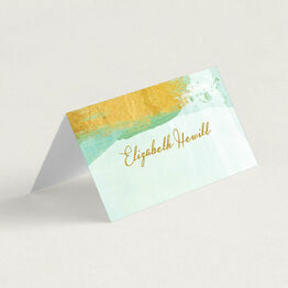 Mint Green & Gold Brush Strokes Folded Wedding Place Cards