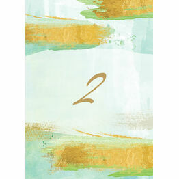 Mint Green & Gold Brush Strokes Table Number