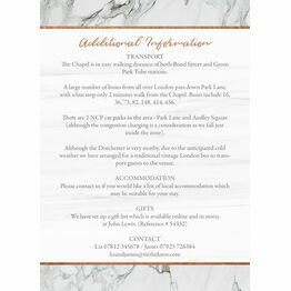 Marble & Copper Guest Information Card