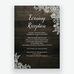 Rustic Wood & Lace Evening Reception Invitation