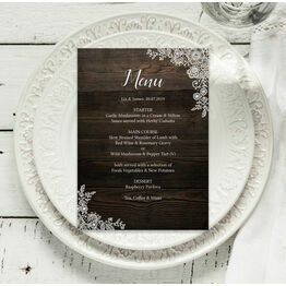 Rustic Wood & Lace Menu
