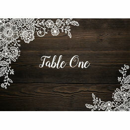 Rustic Wood & Lace Table Name