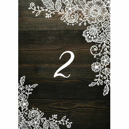 Rustic Wood & Lace Table Number