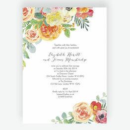 Coral & Blush Flowers Wedding Invitation