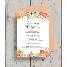 Coral & Blush Flowers Evening Reception Invitation