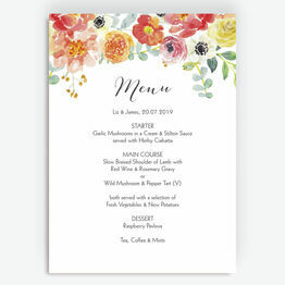 Coral & Blush Flowers Menu