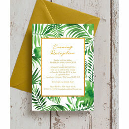 Tropical Leaves Evening Reception Invitation