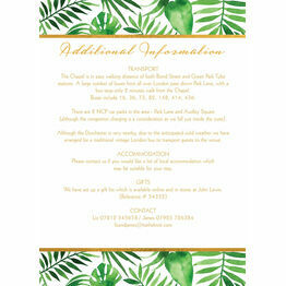 Tropical Leaves Guest Information Card