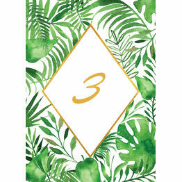 Tropical Leaves Table Number