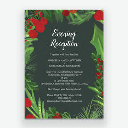 Winter Berries Evening Reception Invitation