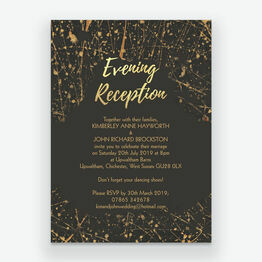 Black & Gold Abstract Evening Reception Invitation