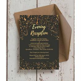 Black & Gold Abstract Evening Reception Invitation