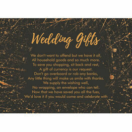 Black & Gold Abstract Gift Wish Card