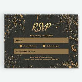 Black & Gold Abstract RSVP