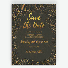 Black & Gold Abstract Save the Date