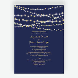 Navy Blue & Gold Fairy Lights Wedding Invitation