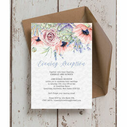 Country Flowers Evening Reception Invitation