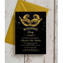 Masquerade Themed 40th Birthday Party Invitation