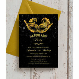 Masquerade Themed 21st Birthday Party Invitation
